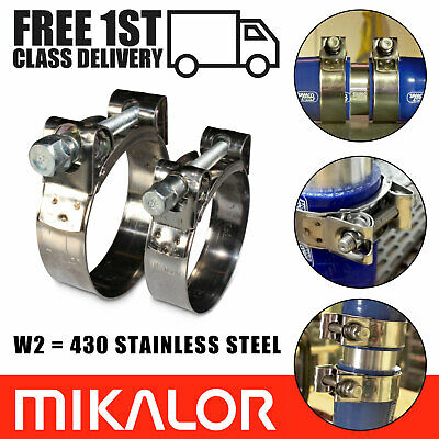 Pack of 2 Mikalor W2 Stainless Steel Heavy Duty Clamp Exhaust Turbo Car Clip