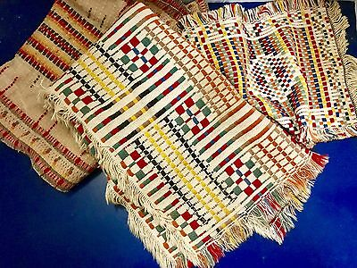 Three 1920's Native American Hand Crafted Woven Dresser Scarf / Table Runner