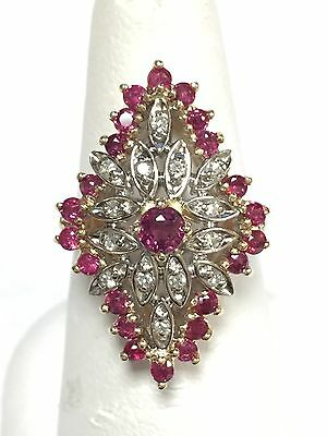 Beautiful ~ Estate  14K Gold Natural Ruby & Diamond Cocktail Ring Size 6.25