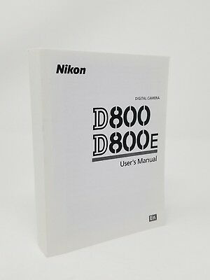 Nikon D800 D800E Instruction Owners Manual Book  NEW