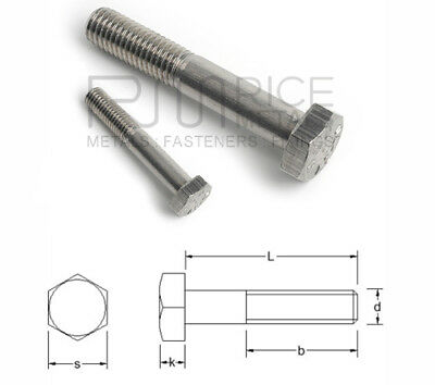 A2 Hexagon Head Bolts Stainless Steel Din 931 Sizes  M10 M12 M14 M16