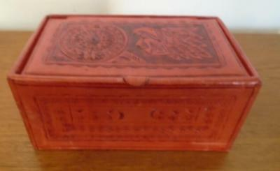 Vintage Mexican Hand Tooled Red Leather Jewelry Cufflink Box Mexico