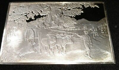 Haying Time, Currier & Ives Franklin Mint Silver Art Bar .999 Fine