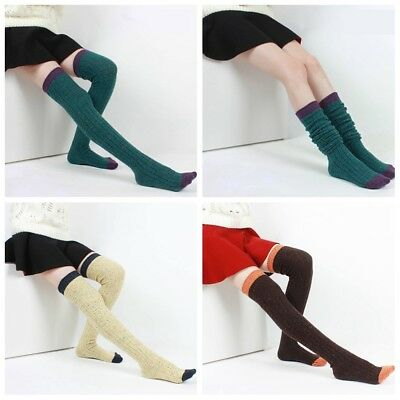 Women 80/%Cashmere Wool Thigh-High Socks Over Knee-High Warm Thick Stocking Solid