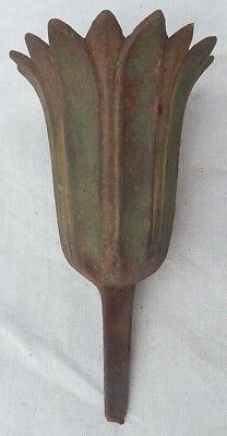 Very Nice Antique Cast Iron Spike Type Tulip Shape Cemetery Urn Vase Green Paint