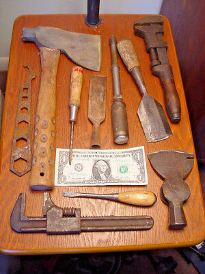 10 Pc Old Antique & Vintage Farm Wrench Hatchet Chisel Tool Wind Chime Craft Lot