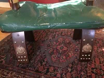 Antique Egyptian Camel Saddle Green Leather Wood Foot Stool Ottoman Seat