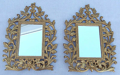 Matched Pair Fancy Victorian Cast Iron Standing Dresser Top Mirrors or Frames