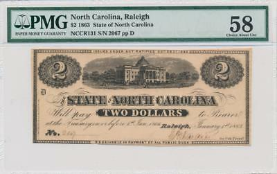 1863 $2 State of North Carlolina, Raleigh PMG 58 EPQ Criswell NC-131