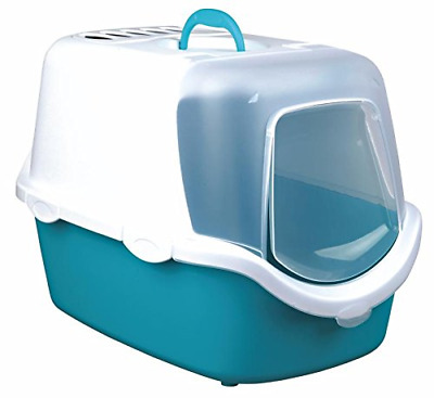 Easy Clean Cat Litter Tray with Dome Hood, Door Flap and Handle, Turquoise/White