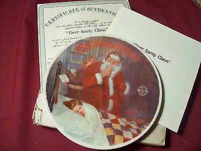 1986 Knowles Bradford Exchange- Norman Rockwell Plate-Deer Santy Claus #10A