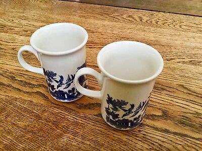 "English Blue Willow Coffee Mugs Pair! Marked CC ""Ear"" a Shaped Handles England"