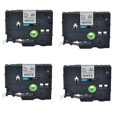 4PK TZe S231 TZ-S231 Black On White Label Tape For Brother P-Touch  PT-1000 12mm