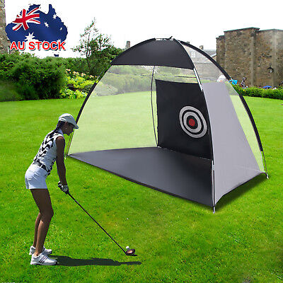 Golf Practice Driving Hit Net Cage Training Mat Aid Driver Irons w/ Free Bag AUS
