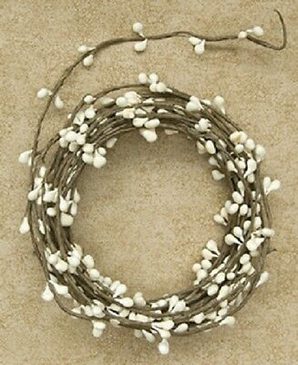 18 ft. Single Ply IVORY Pip Berry Garland, Wispy, Primitive, Crafts, Rope
