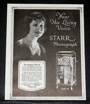 1919 Old Magazine Print Ad, Starr Phonograph, Hear The Living Voice, Style Iii!