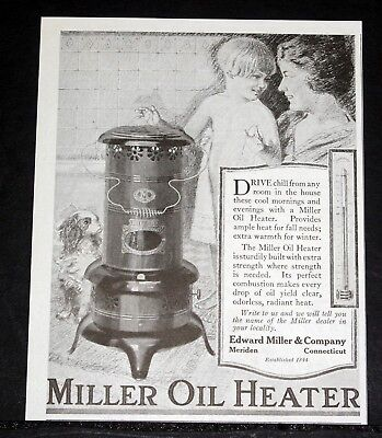 1919 Old Magazine Print Ad, Edward Miller Oil Heater, Drive Chill From Any Room!