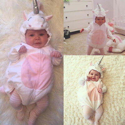 AU Unicorn Baby Kids Girl Zipper Romper Fleece Jumpsuit Outfits Cosplay  Costume