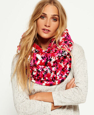 New Womens Superdry Spacedye Beatnik Snood Red Twist