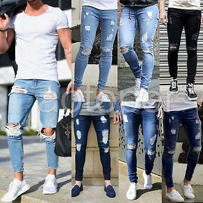 Men's Casual Skinny Jeans Destroyed Frayed Slim Fit Denim Ripped Pants Trousers
