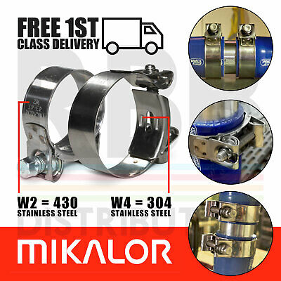Pack of 2 Mikalor Hose Clamps Supra Car Exhaust Heavy Duty T Bolt Pipe Clips