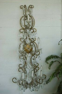 Stunning VTG Old 45 Inch Gilt Sconce Beaded Crystals 5 Light French Italy