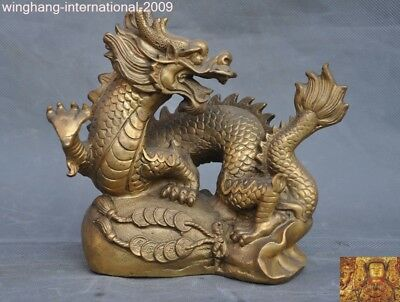 chinese brass feng shui Auspicious lucky wealth coin Zodiac animal Dragon statue