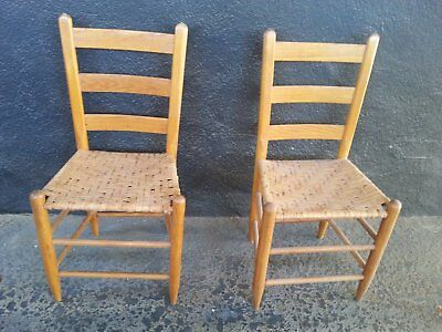 Pair of Antique Wood Caned Chairs Ladder Back Oak