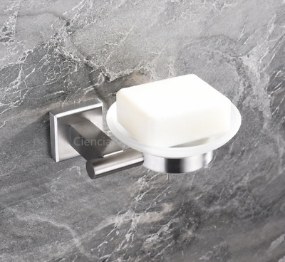 Wall Mounted Square Brushed Nickel Stainless Steel 304 Bathroom Soap Dish Holder