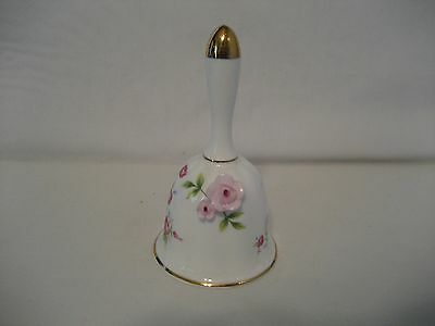 Towle Bone China-Bell-White with Floral/Gold Gilt/ Raised Pink Flowers
