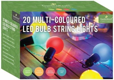 20 x GardenKraft 62150 Battery Operated LED Bulb Party Timer Light Multi-Colour