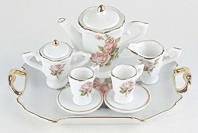 Small Collectible Rose Porcelain Tea Set Teapot Sugar Bowl Creamer 2 Teacups