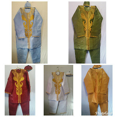 African Men's 3 PCs Embroidered Pant Suit Tradional Brocade Print Free Size