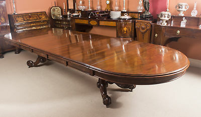 Antique Victorian 14 ft Mahogany Twin Base Extending Dining Table 19th C