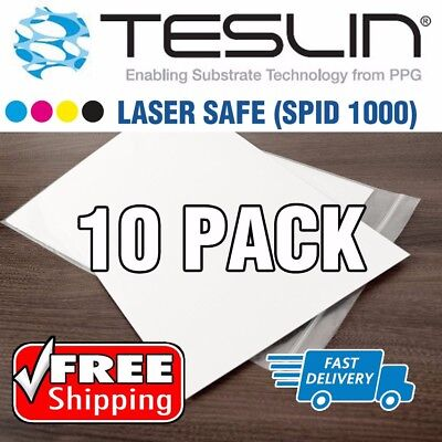 Title:  10 Sheets LASER Safe Teslin Synthetic Paper - Waterproof Plastic ID Card
