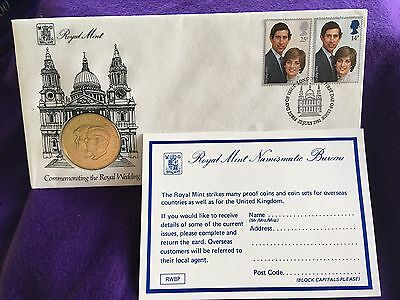 1981 Prince Charles and Lady Diana Royal Wedding First Day Cover Stamps and Coin