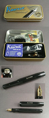 Kaweco Sports Fountain Pen Holder in Black with Tin, Clip and Cartridges #