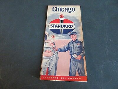 Vintage NICE Road Map 1950's Chicago Illinois American Standard  Oil Lot 17-85