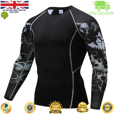 Mens compression top gym crossfit MMA Hawk detail Cycling muscle high quality
