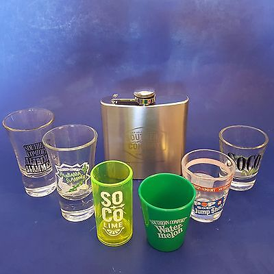 Set of 6 Assorted Southern Comfort-Themed Shot Glasses+Stainless Steel Hip Flask