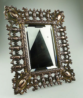 Antique Looking Glass Mirrors  An attractive cast metal Dressing Glass : C.19thC