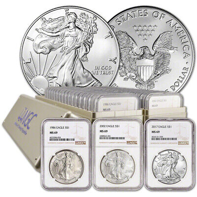 32-pc. 1986 - 2017 American Silver Eagle Complete Date Set NGC MS69 Large Label