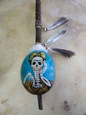 Hand Painted Dance Gourd Rattle , CATRINA ,Ceremonial, folk art style , glossy 2