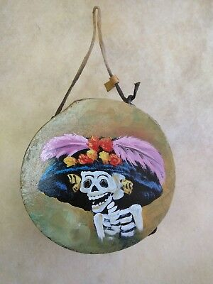 """Rawhide drums,Hand painted mini 4""""drum, catrina ,Souvenirs, Crafts,Gifts , #3"""