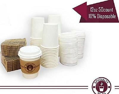 Coffee cups paper to go hot 12 oz white with lids and sleeve Disposable mug 50pc