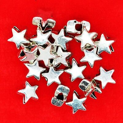 50 x Tibetan Silver Tone 6mm Star Spacer Beads Findings For Bracelets Necklaces
