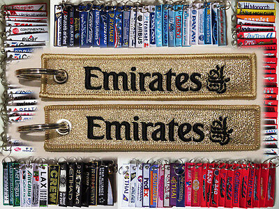 Keyring EMIRATES AIRLINES *GOLD* baggage tag label keychain for pilot crew staff