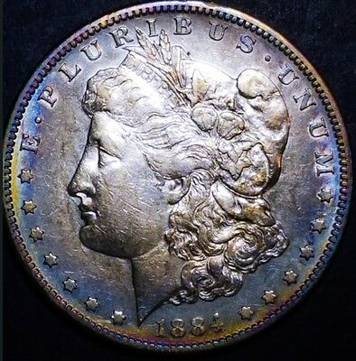 1884 S Morgan Silver  Dollar  * TONING * . 5687