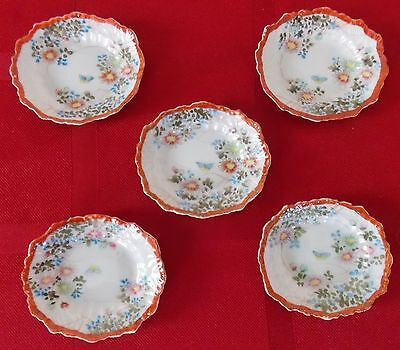 19th Century Set of Five Hand Painted Floral Butterfly Porcelain Butter Pats