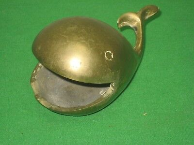 Vintage Solid Polished Brass Whale Figurine Paper Weight
